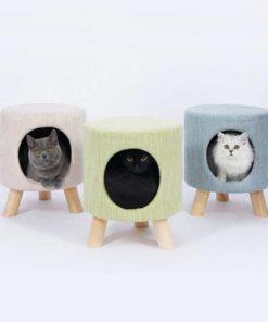 Tabouret niche pour chat en tissu