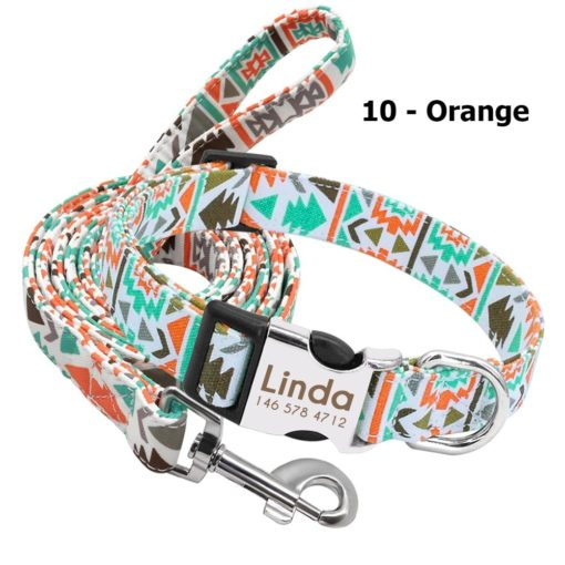 Ensemble collier personnalisé et laisse – Orange