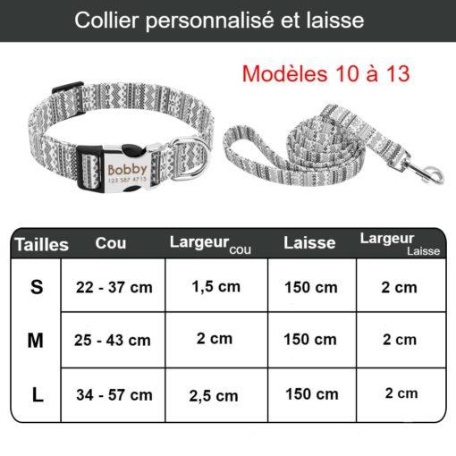 Ensemble collier personnalisé (plaque gravée) et laisse assortie - Dimensions 10 à 13