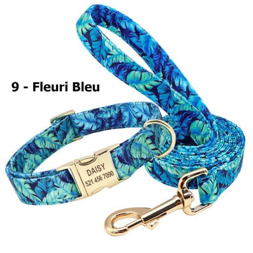 Ensemble collier personnalisé et laisse – Fleuri Bleu