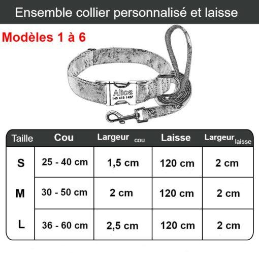 Ensemble collier personnalisé (plaque gravée) et laisse assortie – Dimensions modèles 1 à 6