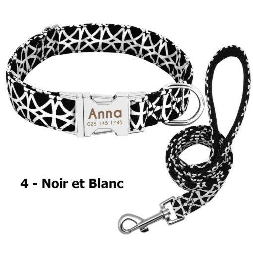 Ensemble collier personnalisé et laisse – Noir et Blanc