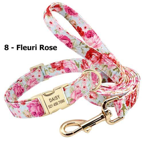 Ensemble collier personnalisé et laisse – Fleuri Rose
